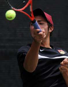 Harvard-Westlake's Jackson Frons during his CIF Southern Section Div. I Tennis Final match against University's Gage Brymer Wednesday, June 2011 at the Claremont Tennis Club in Claremont, Ca. (Hans Gutknecht/Staff Photographer)