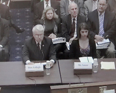 In a screen grab taken from a live Congressional webcast, Mackenzie Souser, 15, of Camarillo, right, testified before a House of Representatives subcommittee on Thursday, March 17, 2011 regarding her father's death in the 2008 Metrolink crash near Chatsworth. She and Rep. Elton Gallegly (R-Thousand Oaks) spoke about how victims are affected by the $200 million federal railroad accident cap. Gallegly is sponsoring legislation that would increase the cap to $275 million.