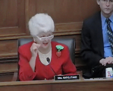 In a screen grab taken from a live Congressional webcast, Rep. Grace Napolitano, (D-Santa Fe Springs), speaks at a House of Representatives subcommittee hearing regarding railroad legislation on Thursday, March 17, 2011. Mackenzie Souser, 15, of Camarillo testified before the subcommittee regarding her father's death in the 2008 Metrolink crash near Chatsworth.
