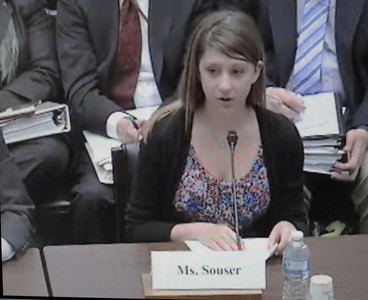 In a screen grab taken from a live Congressional webcast, Mackenzie Souser, 15, of Camarillo testified before a House of Representatives subcommittee on Thursday, March 17, 2011 regarding her father's death in the 2008 Metrolink crash near Chatsworth. She and Rep. Elton Gallegly (R-Thousand Oaks) spoke about how victims are affected by the $200 million federal railroad accident cap. Gallegly is sponsoring legislation that would increase the cap to $275 million.