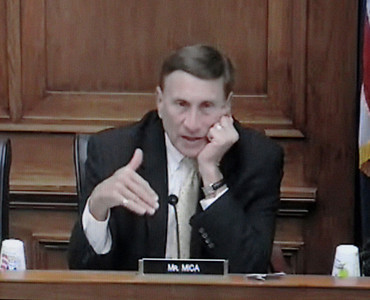 In a screen grab taken from a live Congressional webcast, Rep. John L. Mica, (R-FL), speaks at a House of Representatives subcommittee hearing regarding railroad legislation on Thursday, March 17, 2011. Mackenzie Souser, 15, of Camarillo testified before the subcommittee regarding her father's death in the 2008 Metrolink crash near Chatsworth.