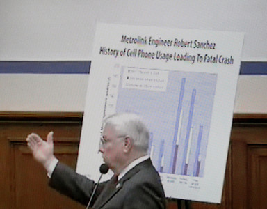 In a screen grab taken from a live Congressional webcast, Rep. Elton Gallegy (R-Thousand Oaks), gestures in front of a chart showing Metrolink Engineer Robert Sanchez's cell phone usage. Mackenzie Souser, 15, of Camarillo testified before a House of Representatives subcommittee on Thursday, March 17, 2011 regarding her father's death in the 2008 Metrolink crash near Chatsworth. She and Gallegly spoke about how victims are affected by the $200 million federal railroad accident cap. Gallegly is sponsoring legislation that would increase the cap to $275 million.