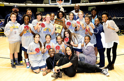 Campbell Hall Vikings pose together as they win 66 to 29 over Brentwood high for the Southern Section Div. IV-A CIF title. Anaheim Ca. Feb 29,2012. Photo by Gene Blevins/LA Daily News