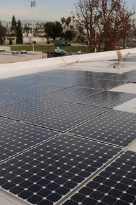 Canoga Park High School activated a 273 kilowatt (kW), 896 panel solar panel system on the school's rooftops.  The new solar panel system is expected to save the school $1.5 million over the next 20 years. Canoga Park, CA. 2-4-2011. (John McCoy/staff photographer)