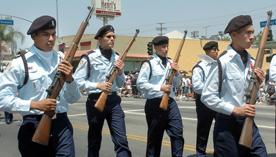 Canoga Park High School ROTC march down Sherman Way Blvd on Monday, May 28, 2007, during the 19th Annual Canoga Park Memorial Day Parade.  (Tina Burch/Staff Photographer)