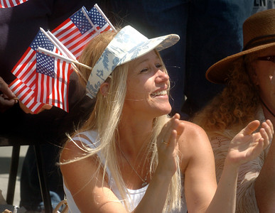 Jeanette Jessop of West Hills, claps during the 19th Annual Canoga Park Memorial Day Parade on Monday, May 28, 2007.  (Tina Burch/Staff photographer)