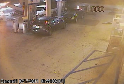 The scene at the Chevron station at Newhall Avenue and Sierra Highway after a Nissan crashes into it in the early morning hours on Friday, June 17, 2011. (Courtesy of the Los Angeles County Sheriff's Department)