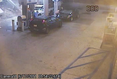 A Nissan, which deputies were trying to stop for a possible DUI, crashes into the Chevron station at Newhall Avenue and Sierra Highway in the early morning hours on Friday, June 17, 2011. (Courtesy of the Los Angeles County Sheriff's Department)