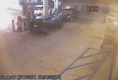 Customers were caught off-guard at the Chevron station at Newhall Avenue and Sierra Highway after a Nissan crashed into it in the early morning hours on Friday, June 17, 2011. (Courtesy of the Los Angeles County Sheriff's Department)