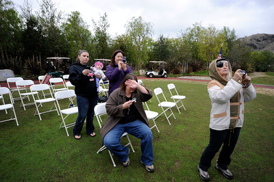 People take photos Monday, December 19, 2011 at the Angeles National Golf Club during a ceremony to publicly dedicate nearly 280 acres of open space adjacent to the Sunland golf course.  (Hans Gutknecht/Staff Daily News)