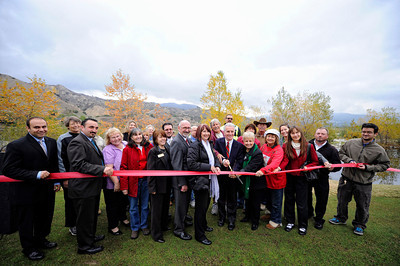 Los Angeles City Council Member Paul Krekorian cuts the ribbon Monday, December 19, 2011 at the Angeles National Golf Club during a ceremony to publicly dedicate nearly 280 acres of open space adjacent to the Sunland golf course.  (Hans Gutknecht/Staff Daily News)