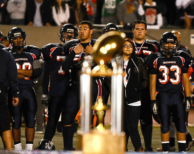 Chatsworth high players were only able to look at the CIF trophy as they lost to Fairfax high 51 to 7 in City Section Div. II football final CIF. Los Angeles. Dec 10,2010. Photo by Gene Blevins/LA Daily News