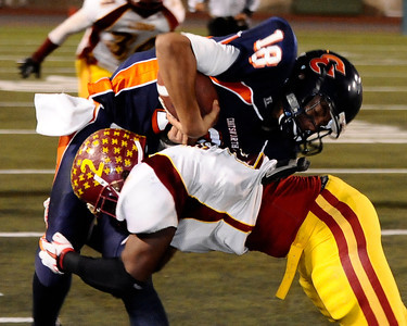 Game action as Chatsworth high looses to Fairfax high 51 to 7 in City Section Div. II football final CIF. Los Angeles. Dec 10,2010. Photo by Gene Blevins/LA Daily News