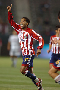 Chivas USA's Maykel Galindo celebrates his second half goal against FC Dallas Saturday night at the Home Depot Center in Carson. May 26, 2007.(Staff photo by Sean Hiller).