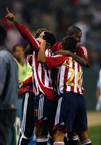 Chivas USA's Maykel Galindo and teammates celebrate his second half goal against FC Dallas Saturday night at the Home Depot Center in Carson. May 26, 2007.(Staff photo by Sean Hiller).