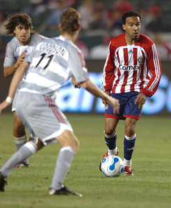 Chivas USA's Maykel Galindo lines up for a second half goal against FC Dallas Saturday night at the Home Depot Center in Carson. May 26, 2007.(Staff photo by Sean Hiller).
