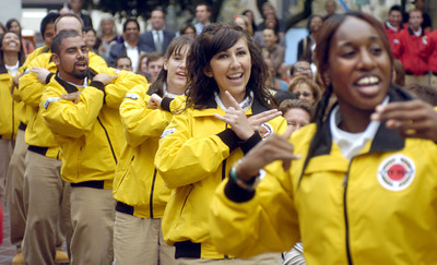 City Year Los Angeles Corps, a volunteer organization, sing a chant during opening day at City Hall on Friday morning, Sept. 28, 2007.  (Tina Burch/staff photographer)
