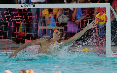 Birmingham 's Taylor Earwood blocks a shot during their water polo match against Cleveland at Birmingham High School Thursday, October 28, 2010. (Hans Gutknecht/Staff Photographer)