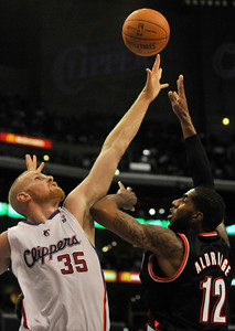 The Clippers were defeated by the Portland Trail Blazers 98 to 88 in the season opener at Staples Center in Los Angeles, CA.10-27-2010. (John McCoy/staff photographer)