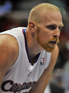 Chris Kaman is sporting a beard and short hair. The Clippers were defeated by the Portland Trail Blazers 98 to 88 in the season opener at Staples Center in Los Angeles, CA.10-27-2010. (John McCoy/staff photographer)