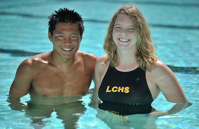 Daily News All-Area Swimmers of the Year Katy Campbell (La Canada) and Young Tae Seo (Crescenta Valley). Pasadena, CA 6-21-2011. (John McCoy/Staff Photographer)