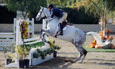 Bud Wolf competes during the first day of the $50,000 Los Angeles NationalÊGrand Prix Wednesday, November 16, 2011 at theÊLos Angeles Equestrian Center in Burbank, CA. The event concludes on Saturday top riders competing in show jumping in the Equidome atÊthe Equestrian Center (Hans Gutknecht/Staff Photographer)