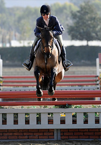 Devon Gibson competes during the first day of the $50,000 Los Angeles NationalÊGrand Prix Wednesday, November 16, 2011 at theÊLos Angeles Equestrian Center in Burbank, CA. The event concludes on Saturday top riders competing in show jumping in the Equidome atÊthe Equestrian Center (Hans Gutknecht/Staff Photographer)