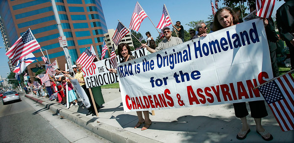 Members of St. Paul's Assyrian Chaldean Catholic Church in North Hollywood and St. Mary's Holy Apostolic Catholic Assyrian Church of the East in Encino along with numerous Assyrian organizations demonstrate in front of the federal building in Westwood, CA, on Wednesday, July 25, 2007 protesting the persecution, killing, raping and ethnic cleansing of Christians in Iraq who's government is ignoring their plead to protect them against violence by the muslims on daily basis. The Assyrians who were the original settlers of Babylon—now Iraq, are asking the U.S. government to step in and provide a solution for the problem that started after the U.S. helped Iraq build it's new government which currently fails protecting all of it's Christian population that's rapidly diminishing. (John Lazar/L.A. Daily News Staff Photographer)