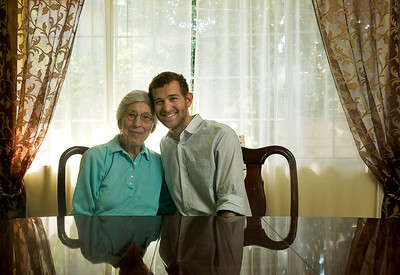 Toby Zablen, 97, and Andrew Moore, 21, have shares a 20-year friendship. Zablen helped the Moore family, taking care of Andrew Moore, now a senior at Cal State Northridge, beginning when he was two. The Moores frequently visit Zablen at Royal Garden, an assisted living facility in Valley Glen, Calif.  (Maya Sugarman/Staff Photographer)