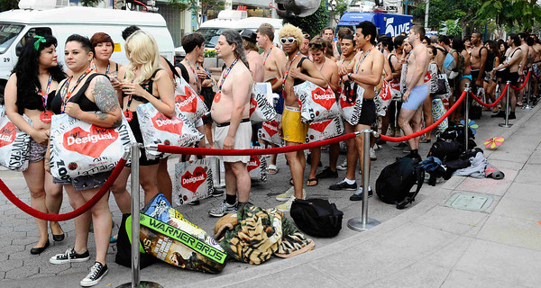 The first people stated lining up at 9pm last night for the Desigual spanish apparel brand thatÕs rapidly expanding in the U.S., has announced the latest leg of its touring clothes giveaway for the brave but threadbare UNDIE PARTY at 9 am. The first 100 people (200 expected) arriving at DesigualÕs new Third Street Promenade store in Santa Monica Ðwearing just their underwear Ð will walk out in a free two-piece Desigual outfit . Santa Monica CA.Aug 30,2011 photo by Gene Blevins/LA DailyNews