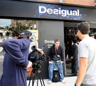 Carl Henry talks to the media about his experience at  the Desigual spanish apparel brand store at the start of the undie party that started at 9 am. this morning The first 100 people arriving at DesigualÕs new Third Street Promenade store in Santa Monica Ðwearing just their underwear Ð will walk out in a free two-piece Desigual outfit . Santa Monica CA.Aug 30,2011 photo by Gene Blevins/LA DailyNews