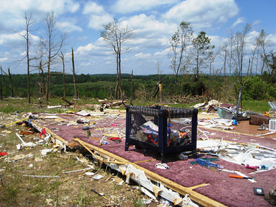 A few belongings is all that remains of one family's former home after a tornado in Alabama.