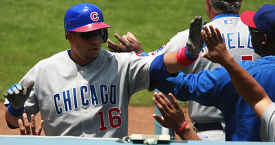 Cubs' Aramis Ramirez gets high-fived as he gets back to the dugout after hitting the first of two back-to-back homers in the second inning of the game played against the Dodgerts on Saturday, May 26, 2007 in Los Angeles, CA.  John Lazar / L.A. Daily News Staff Photographer