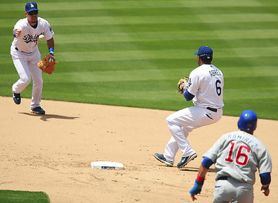 Los Angeles Dodgers' Ramon Martinez pitches a grounder hit to him to second-baseman Tony Abreu who taggs out the Cubs' Aramis Ramirez in the fifth inning of the game played on Saturday, May 26, 2007 in Los Angeles, CA.  John Lazar / L.A. Daily News Staff Photographer