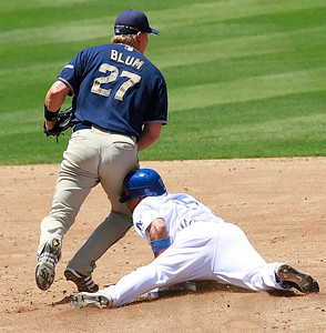 Los Angeles Dodgers' Rafael Furcal steals second base as he runs into San Diego Padres' shortstop Geoff Blum in the bottom of third inning after just having hit a single to allow teammate Matt Kemp score the first run of the game played at Dodgers Stadium in Los Angeles, CA, on Sunday, July 1, 2007 where the Dodgers swept the Padres 5-0.   (John Lazar/L.A. Daily News Staff Photographer)