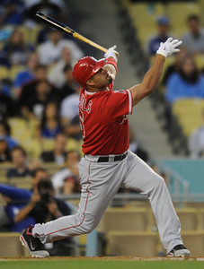 Albert Pujols hits a foul ball in the first inning. Dodgers played host to the Angels in a pre-season game that is known as the Freeway Series. Los Angeles, CA 4/3/2012(John McCoy/Staff Photographer)