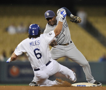 Aaron Miles is caught stealing in the 7th inning. The Dodgers defeated the San Diego Padres 8-5 in a game played at Dodger Stadium in Los Angeles, CA. 8-30-2011. (John McCoy/Staff Photographer)