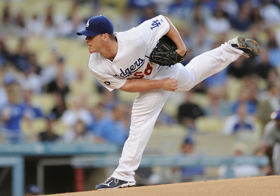 Chad Billingsley on the hill in the first inning. Dodgers played host to the Chicago Cubs in a game at Chavez Ravine. Los Angeles, CA 5-3-2011. (John McCoy/staff photographer)