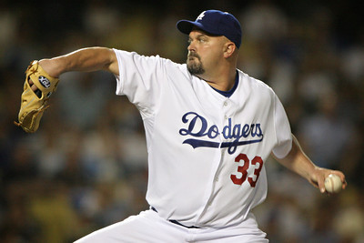 BIG THROW--David Wells pitches against the San Diego Padres thursday at Dodger Stadium.     Photo by David Crane/Staff Photographer.