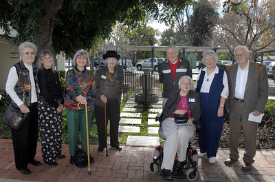 (LtoR)  Mavis Burkhard, Betsy Noorzay, Zazel Whitney, Kit Hinkle, Marvin McNeil, Delores Burton, Doreen McNeil, and Merton Burkhard gather at the Memory Garden following Sunday's service.   Woodland Hills Community Church celebrated Dr. Martin Luther King's visit to their church 50 years ago, where he preached at two services on Janurary 15, 1961.  Pastor Craig Peterson directed Sunday's service as Rev. Gary Ziegler read the message from the same podium that Dr. King had spoke from.  Eight in today's service were present during Dr. Kings 1961 visit.   (Dean Musgrove/Staff Photographer)