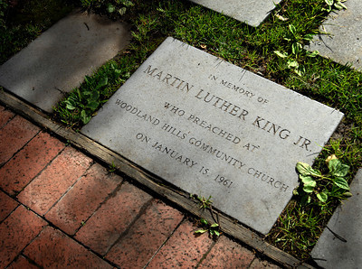 A stone marker at the entrance to the Memory Garden dedicates Dr. Kings visit.  Woodland Hills Community Church celebrated Dr. Martin Luther King's visit to their church 50 years ago, where he preached at two services on Janurary 15, 1961.  Pastor Craig Peterson directed Sunday's service as Rev. Gary Ziegler read the message from the same podium that Dr. King had spoke from.  Eight in today's service were present during Dr. Kings 1961 visit.   (Dean Musgrove/Staff Photographer)