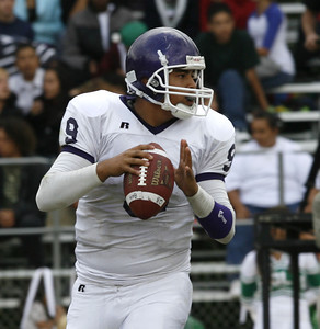 Bell's #9 QB, Francisco Rodriguez looks down the field to throw the ball to a receiver during the second quarter of the game against Eagle Rock on Friday, September 21, 2007 (Edna T. Simpson)