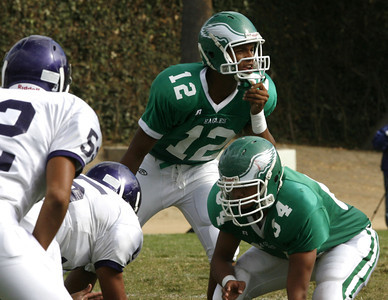Eagle Rock #12, QB, Jelani Blunt calls a play during the second quarter on Friday, September 21, 2007 against Bell  High School. (Edna T. Simpson)