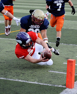 East team player #33 Steven Manfro makes a dive into the end zone for his 1st of three TD he made during the 15th annual Daily News East-West all-star football game at Collage of the Canyons in Valencia CA. Jan 16, 2011 Photo by Gene Blevins/LA Daily news