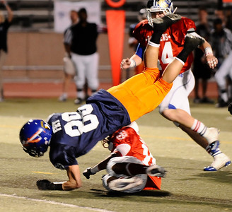 West team player #88 Jared Fry goes airborne,  as the East took the win 21-20 over the West  during the 15th annual Daily News East-West all-star football game at Collage of the Canyons in Valencia CA. Jan 16, 2011 Photo by Gene Blevins/LA Daily news