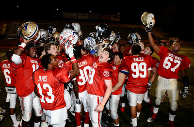 East team cheers as they took the win 21-20 over the West  during the 15th annual Daily News East-West all-star football game at Collage of the Canyons in Valencia CA. Jan 16, 2011 Photo by Gene Blevins/LA Daily news