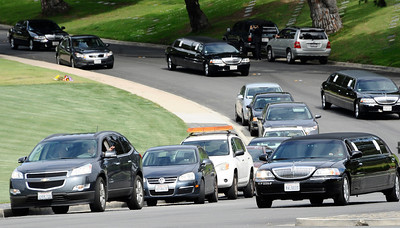 Limos with family members leave Elizabeth Taylor's funeral service at a Glendale forest lawn cemetery as the actress was laid to rest today. GlendaleCA. March 24,2011. Photo by Gene Blevins/LA Daily News