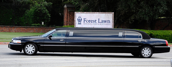 Family members arrive in limos as news helicopters and camera crews lined up  for Elizabeth Taylor's funeral service at a Glendale cemetery famous for being the final resting place of Hollywood celebrities. GlendaleCA. March 24,2011. Photo by Gene Blevins/LA Daily New