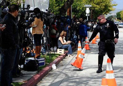 News helicopters and camera crews lined up in preparation for Elizabeth Taylor's funeral service at a Glendale cemetery famous for being the final resting place of Hollywood celebrities. GlendaleCA. March 24,2011. Photo by Gene Blevins/LA Daily New