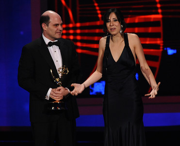 Matthew Weiner and Erin Levy won the Emmy for Outstanding Writing for a Drama Series for 'Mad Men' at the 62nd Primetime Emmy Awards on Sunday, August  29, 2010, at the Nokia Theatre in Los Angeles.(Michael Owen Baker/ staff photographer)